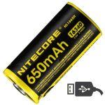 Аккумулятор литиевый Li-Ion RCR123A Nitecore NL1665R 3.6V (650mAh, USB), защищенный (6-1022-r)