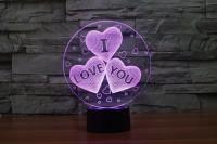 Подарок Светильник 3D Creative Light 'I love you'