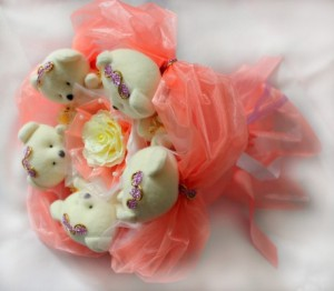 Подарок Букет из мишек 'Персиковый Рай'