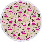 Подарок Пляжный коврик 'Фламинго и Листья' (482)