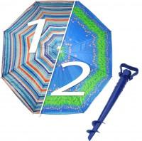 Комплект: Зонт пляжный синий 1.8 м с наклоном, Anti-UV, и Винт крепежный SS-Z-1