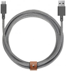 Кабель переходник Native Union Belt Cable USB-A to USB-C Zebra (3 m) (BELT-KV-AC-ZEB-3)