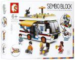 Конструктор  Sembo  'Туристы: дом, автобус, катер' (SD6970)