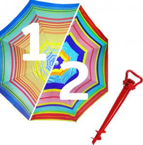 Комплект: Зонт пляжный красный 1.8 м с наклоном, Anti-UV, и Винт крепежный SS-Z-1