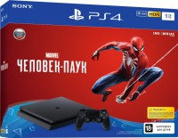 Приставка PlayStation 4 Slim 1TB Black Bundle + игра Marvel Человек-паук PS4