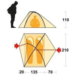 фото Палатка Ferrino Flare 2 (8000) Red (925739) #3