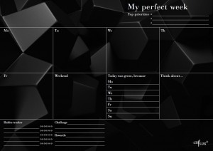 Еженедельник LifeFLUX 'Weekly My perfect day', черный с ручкой (LFWEEPBL005)