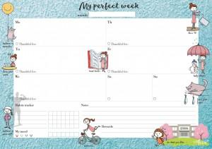 Еженедельник LifeFLUX 'Weekly My perfect day', мотивирующий синий (LFWEEPTU005)