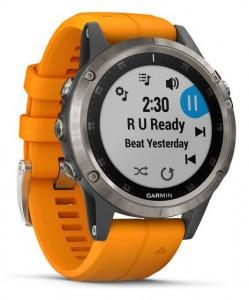 Спортивные часы Garmin Fenix 5 Plus Sapphire Titanium with Orange Band (010-01988-05)