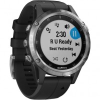 Спортивные часы Garmin fenix 5 Plus,Glass,Silver w/Black Band,GPS (010-01988-11)