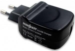 Сетевое зарядное устройство MiniBatt 2 Way Port USB Black (MB-ADP 2 USB)