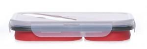 Подарок Ланчбокс силиконовый складной двойной красный (md14161)