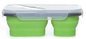 Подарок Ланчбокс силиконовый складной двойной зеленый (md14158)