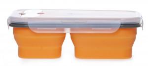 Подарок Ланчбокс силиконовый складной тройной оранжевый (md14160)