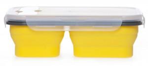 Подарок Ланчбокс силиконовый складной тройной желтый (md14154)