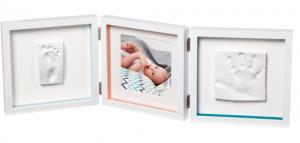 Подарок Рамочка Baby Art 'Тройная с отпечатками Белая New' (3601097200)