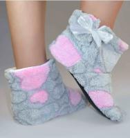 Тапочки - угги комнатные 'Teddy' Серые с розовыми сердечками (101-9721999)