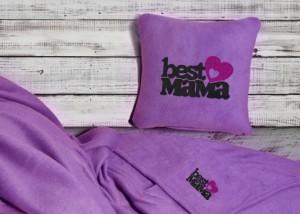 Подарок Набор подушка и плед с вышивкой 'Best Mama!' Фиолетовый (100-9721981)