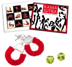 Подарок Подарочный набор 'Камасутра' (суперкомплект из 3 предметов: наручники, кубики, конфеты)