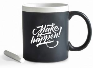 Подарок Чашка керамическая Gifty ' Make it happen'. White 320 мл, с мелком (10438)