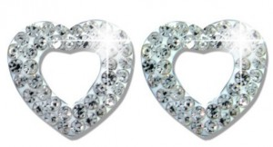 Подарок Серьги Biojoux Trendy White Crystal Open Heart 11 мм (BJT922)