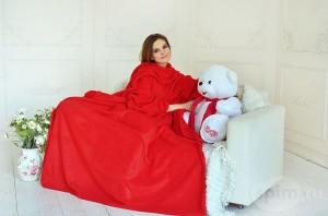 Плед с рукавами двухслойный флис Premium. Красный (100-9722115)