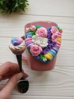 Подарок Подарочный набор из полимерной глины 'Сердце', чашка с ложечкой