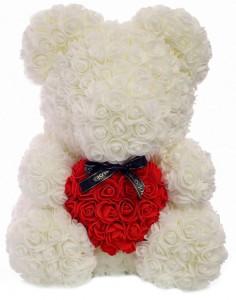 Подарок Мягкая игрушка UFT Bear Flowers B2 Мишка из роз c сердцем White 40 см (B2White)