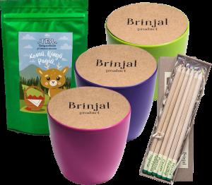 Подарок Подарунковий суперкомплект: набір 6 кольорових олівців з насінням рослин + 3 квіткових горщики + малиновий чай 'Кохай. Цінуй. Радій'