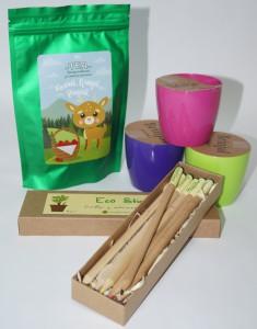 фото Подарунковий суперкомплект: набір 6 кольорових олівців з насінням рослин + 3 квіткових горщики + малиновий чай 'Кохай. Цінуй. Радій' #4