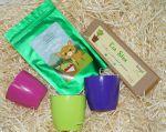 фото Подарунковий суперкомплект: набір 6 кольорових олівців з насінням рослин + 3 квіткових горщики + малиновий чай 'Кохай. Цінуй. Радій' #3