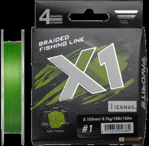 Шнур Favorite X1 PE 4x 150m (l.green) #1.0/0.165mm 19lb/8.7kg (16931130)