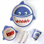 Детская бамбуковая посуда UFT 'Акула' набор из 2-х тарелок, чашки, ложки и вилки (UFTBP2)