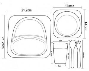 фото Детская бамбуковая посуда UFT 'Сова ' набор из 2-х тарелок, чашки, ложки и вилки  (UFTBP1) #3
