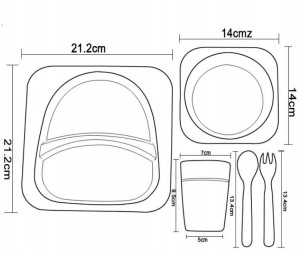 фото Детская бамбуковая посуда UFT 'Акула' набор из 2-х тарелок, чашки, ложки и вилки (UFTBP2) #4
