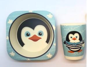 фото Детская бамбуковая посуда UFT 'Пингвинчик' набор из 2-х тарелок, чашки, ложки и вилки (UFTBP5) #2