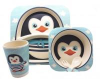 Детская бамбуковая посуда UFT 'Пингвинчик' набор из 2-х тарелок, чашки, ложки и вилки (UFTBP5)