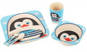 фото Детская бамбуковая посуда UFT 'Пингвинчик' набор из 2-х тарелок, чашки, ложки и вилки (UFTBP5) #3