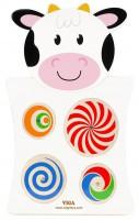 Головоломка настенная бизиборд Viga Toys 'Корова с кругами' (50678)
