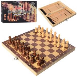Шахматы деревянные Xinliye 3в1 на магнитах (W7702)