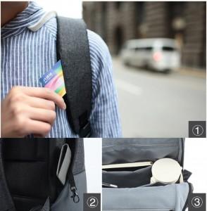 фото Рюкзак RunMi 90 Points of urban simple shoulder bag Light Gray (Р30994) #4