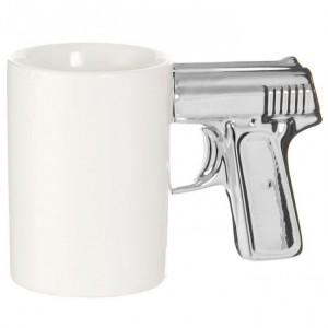Подарок Чашка 'Пистолет' белая с серебряной ручкой (top-702)