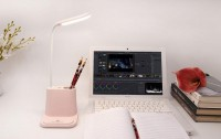 Подарок Подставка для канцелярии розовая с встроенной Led лампой Pink (top-694)