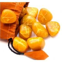 Подарок Руны из камня желтый оникс (25 шт)