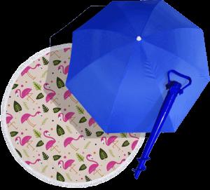Подарок Суперкомплект для пляжа: зонт, винт и коврик