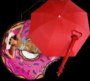 Подарок Суперкомплект для пляжа: зонт, винт и подстилка