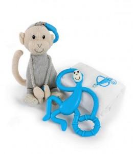 Подарочный набор Matchistick Monkey , Blue(пеленка,прорезыватель,мягкая игрушка) (659436669871)