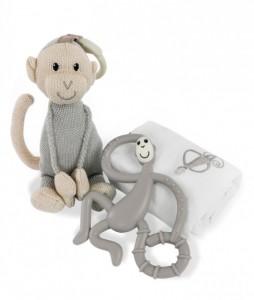 Подарочный набор Matchistick Monkey ,Grey(пеленка,прорезыватель,мягкая игрушка) (659436669888)