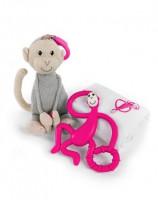 Подарочный набор Matchistick Monkey , Pink (пеленка,прорезыватель,мягкая игрушка) (659436669864)