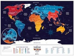 Подарок Скретч карта світу 1DEA.me Travel Map Holiday World  в рам (англ) (4820191130463)